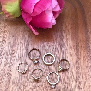 6 piece ring set gold bundle